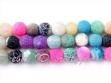 """WHOLESALE 8MM ROUND FROST CRACKED MIXEDCOLOR AGATE GEMSTONE BEADS STRAND 15"""""""