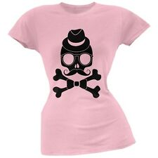 Hipster Skull And Crossbones Light Pink Soft Juniors T-Shirt
