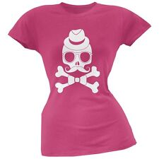 Hipster Skull And Crossbones Berry Pink Soft Juniors T-Shirt
