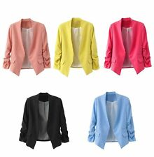 Women Fashion Puff Sleeve Buttonless Coat Business Suit Office Blazers Jacket
