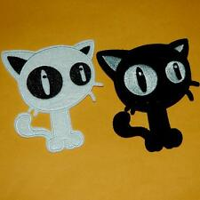 Cat Kitty Pet Iron on Sew Patch Embroidery Applique Badge Retroembroidered Motif