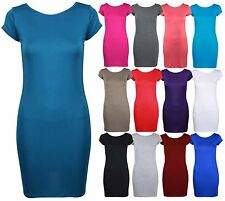 WOMENS NEW PLAIN BODYCON T-SHIRT DRESS LADIES SHORT SLEEVE PLUS SIZE LONG TOP