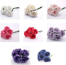 3 Bunches 6cm FOAM ROSES Colourfast Artificial Bouquet Wedding Flowers 18 Heads