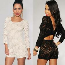 Women 3/4 Sleeve Scoop Neck Floral Lace Party Jumpsuits Backless Romper Playsuit