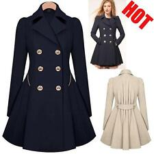 Women Ladies Lapel Windbreaker Long Winter Parka Coat Trench Outwear Work Jacket