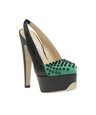 $995 RYAN HABER BLACK PATENT/GREEN SUEDE PLATFORM SLINGBACK WITH BLACK SPIKES