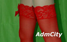 Admcity Sheer Thigh High Stockings Lace Top with Satin Bow Red
