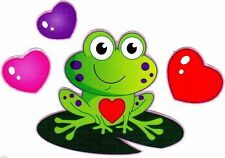 """4.5-8"""" FROG VALENTINE HEART SET HOLIDAY WALL SAFE STICKER  BORDER CUT OUT"""