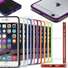 "Tpu Bumper Rim Case Cover For Apple iPhone 6 4.7"" & Plus 5.5""With Silver Buttons"