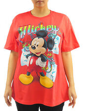 Disney Mickey Mouse Rainbow Glitter Coral Womens Plus Size T-Shirt