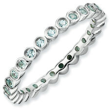 Aquamarine Eternity Ring .925 Sterling Silver Size 5-10 Stackable Expressions