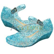 Toddler Girls Kids Blue Snowflake Fancy Dress up Cosplay Soft Jelly Sandal Shoes