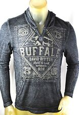 NEW Buffalo T-shirt David Bitton Thin Thermal Gray Graphics Hooded Soft S-2XL