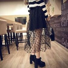 Sexy Womens Ladies Retro Gauze Long Polka Dot Sheer Elastic Waist Skirt A80