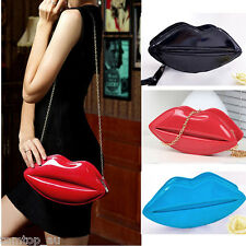 Women Lip Design Clutch Patent Leather Shouder Handbag Evening Party Purse Bag