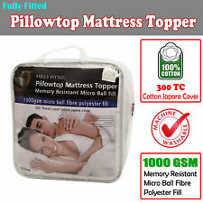 Washable 1000GSM Pillowtop Mattress Protector Topper 100% Cotton Cover 5 Sizes