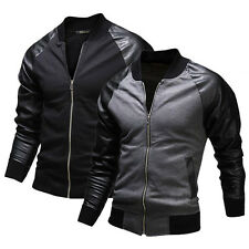 2015 NEW ~Mens,Pu Leather Sleeve,Letterman Varsity Coat ,College Casual Jackets