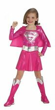 Childrens Pink Supergirl DC Kids Female Superhero Fancy Dress Childs Costume
