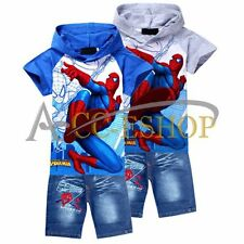 Spider Man Kids Boys Girls Hoodie T-Shirt+Jeans Shorts Outfit Suit Age 2-8Years