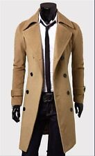 USA Seller Military Style Long Trench Double Breasted Mens Comfort Winter Coat