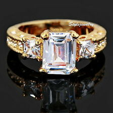 Rose Gold Plate Princess Cut Swarovski Crystal Diamond Women Engagement Ring R61