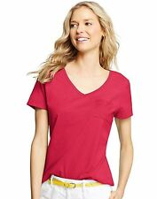 Hanes Live.Love.Color® Women's Short-Sleeve Solid V-Neck Pocket Tee style 9167