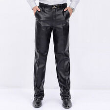 New Men's PU Leather Long Pants Trousers Velvet Warm Motorcycle Straight Jeans
