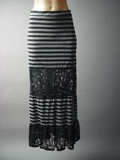 Black Gray Stripe Tiered Sheer Lace Goth Punk Rock Long Maxi 126 mv Skirt S M L