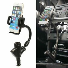 Dual USB Car Cigarette Lighter Socket Charger Mount Holder For Cell Phone HTC LG