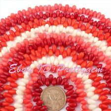"""5x8mm Drop Coral Smooth Natural Gemstone Jewelry Making Beads 15"""" Pick Color"""