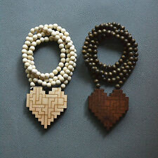 """Good Quality Mosaic Heart Pendant Natural Wood Rosary Bead Chain Necklace 36"""""""