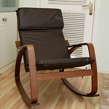 International Caravan Stockholm Contemporary Bentwood Rocking Chair with Faux Le