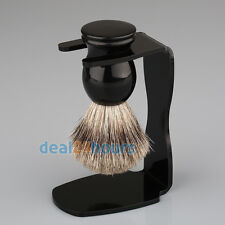 Badger Bristle Shaving Brush + Arcylic Brush Drip Stand Barber Shaving Tool Set