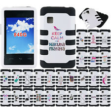 For Tracfone LG 840G White/ Black Heavy Duty Tuff Hybrid Rubber Hard Case Cover
