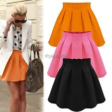 New Womens High Waist Short Plain Flared Pleated Skater Fippy Mini Skirts tal05