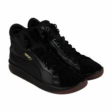 Puma Challenge Leather Mens Black Leather High Top Lace Up Sneakers Shoes