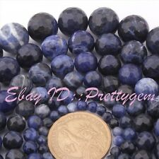 "Natural Faceted Round Blue Sodalite Gemstone Spacer Beads 15"" 4mm 6mm 8mm 10mm"