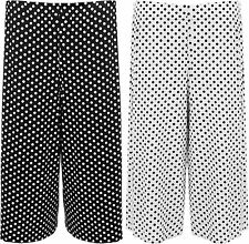 New Womens Plus Size Polka Dot Spot Print Wide Leg Culottes Ladies Shorts 12-30