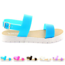 Ladies Jelly Sling Back Open Toe Cleated White Sole Flatform Sandal All Sizes