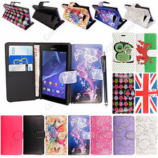 New Printed PU Leather Book Side Flip Case Cover For Sony Xperia Phones + Stylus