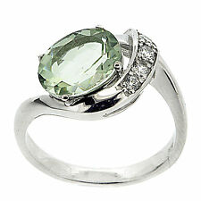 925 Sterling Silver 2.32ct Natural Green Amethyst & White CZ Ring Size 6.75 US