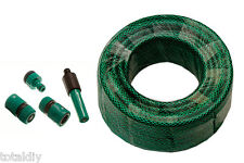 UK Garden Hose Hosepipe Tool 15m - 60m + Hozelock Compatible Fittings & Nozzle
