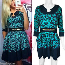 Women Geometric Print Crew Neck Elegant Lady Half Sleeve Ball Party Mini Dress