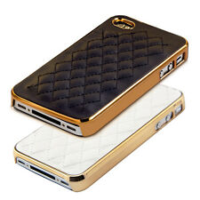 kwmobile HARD COVER FOR APPLE IPHONE 4 / 4S CHROME SYNTHETIC LEATHER CASE BACK