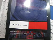 NWT TOMMY HILFIGER DISIGNER COTTON PJ SET ,SHORT SLEEVE V-NECK TEE& POPLIN PANT