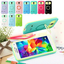 Hybrid Dual Color Glow Silicone PC Stand Case Cover For Various Samsung Galaxy