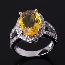 Engagement 18K gold filled lady champagne sapphire crystal lady rings Sz6to10