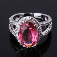 Remarkble design 18K gold filled pink sapphire crystal lady chic rings Sz6to10