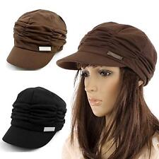 Women Solid Color Chic Pleated Beret Beanie Hat Peaked Brim Party Beach Sun Cap