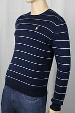 Polo Ralph Lauren Navy Blue Stripe Pima Cotton Sweater Yellow Pony NWT